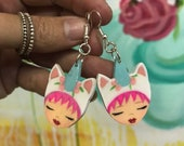 Unicorn earrings, with pink hair, zoownatas
