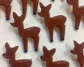 Brown deer brooch, wood, Zoownatas