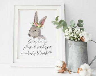Easter Printable, Easter Bunny, Personalized Easter, Easter Decorations, Easter Art, Happy Easter, Easter Wall Art, Spring Wall Art
