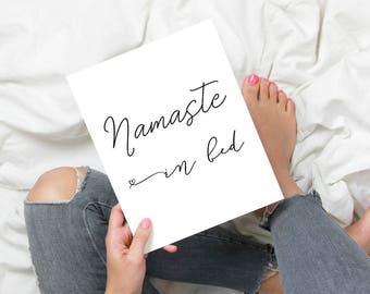 Namaste in Bed, Yoga Wall Art, Namastay in Bed, Monochrome Bedroom Prints, Namaste Print, Bedroom Wall Decor, Teen Room Decor, Dorm Wall Art