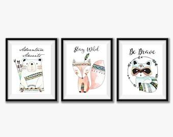 Tribal Nursery Decor, Nursery Printables, Baby Room Wall Art, Nursery Wall Art, Nursery Art Print Set, Fox Printable, Instant Download 8x10