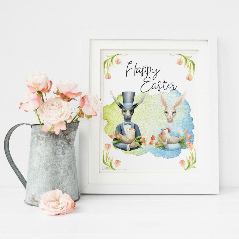 graphic about Printable Easter Decorations named Easter Printable, Easter Bunny, Easter Wall Artwork, Pleased Easter Printable Farmhouse Easter Decor, Easter Decorations Options