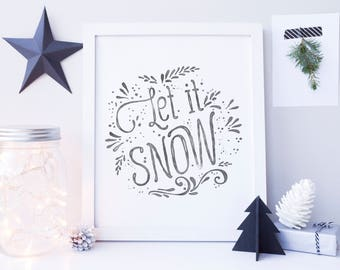 Christmas Decor, Let it Snow Sign, Christmas Printable, Festive Home Decor, Christmas Decoration, Christmas Home Decor, Holiday Decoration