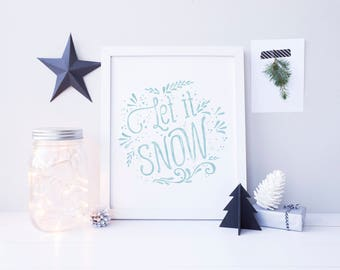 Let it Snow Sign, Christmas Printable, Festive Home Decor, Christmas Decor, Christmas Decoration, Christmas Home Decor, Holiday Decoration
