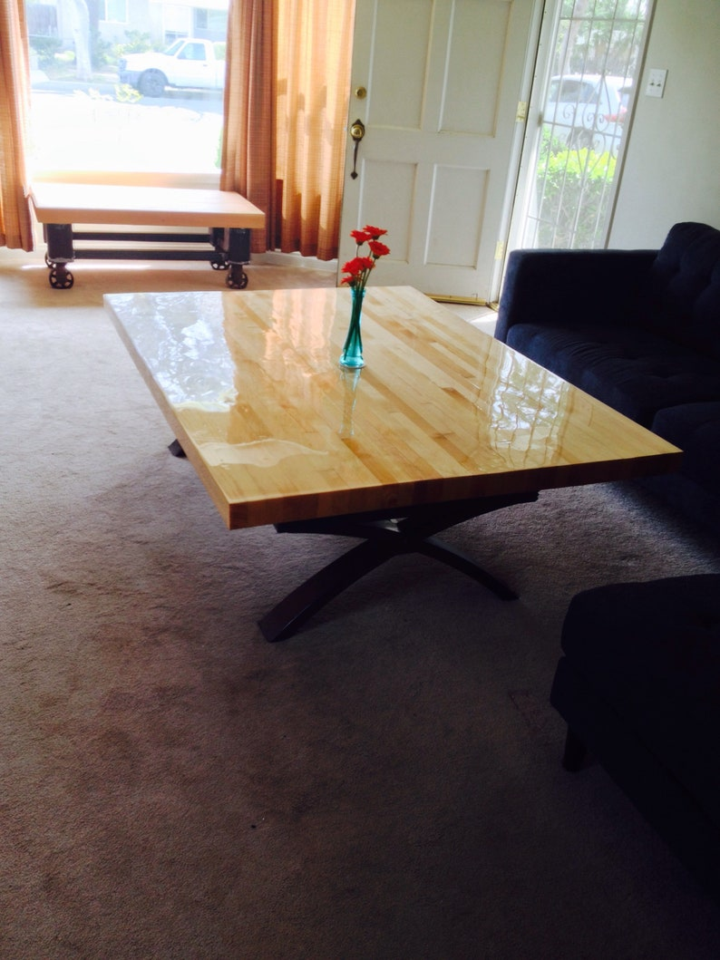 Farmhouse wood table top, Butcher block workbench top or kitchen island.  Natural, polyurethane or epoxy resin finish.