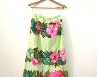 Chartreuse Psychedelic Floral Maxi Skirt