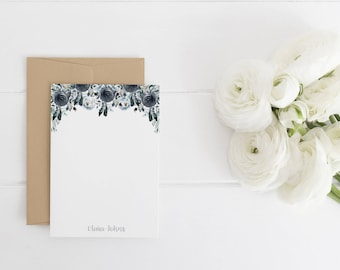 Personalized Stationery (Sets of 10) / Floral / Peonies  / Navy Stationery / Stationery For Her / Personalized Stationery / Wedding Gift