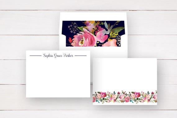 Sets of 10 Flat Notecards Lined Envelopes Personalized Notecards  Note Cards Personalized Stationery Set