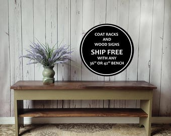 "36"" Entryway Bench-  Shoe Storage shelf, Rustic, Small, Distressed, Wood, Country, Farmhouse Decor, Mudroom, Bedroom, Hand Painted & Stained"