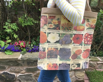 Giant Tote in Vintage Seed Packets Fabric