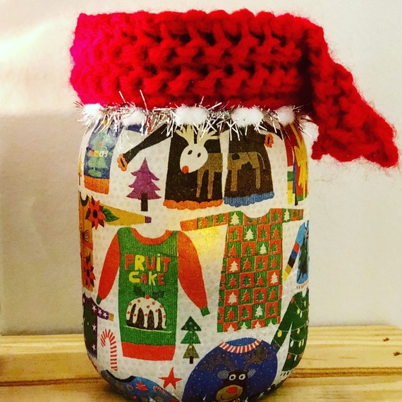 Ugly sweater lighted jar, lighted jars, lighted bottles, ugly sweater Christmas decor, jar lights, Christmas decor