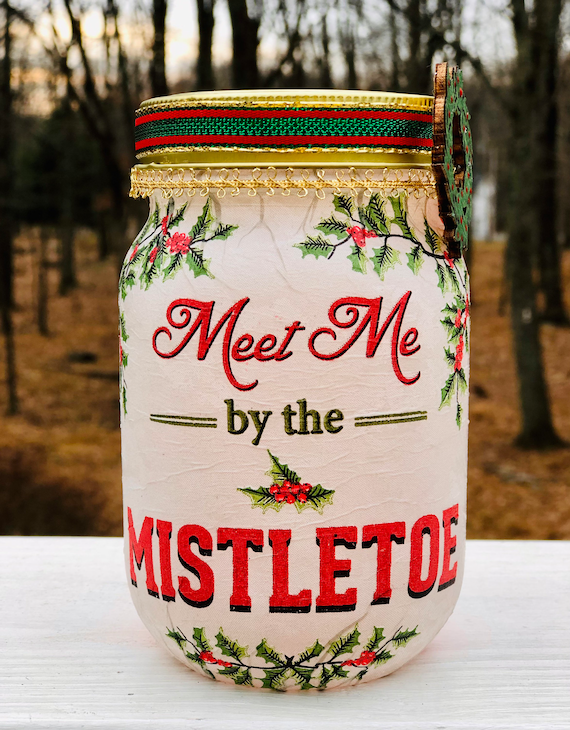 Meet me by the mistletoe lighted jar, lighted jars, lighted bottles, jar lights, Christmas jars, lighted Christmas jars, Christmas decor