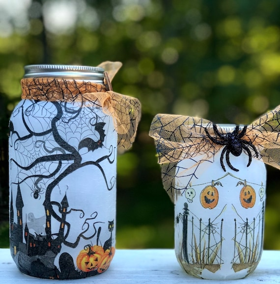 Ghost yard lighted jar set, lighted jars, lighted bottles, jar lights, lighted Halloween jars, Halloween decor, fall decor