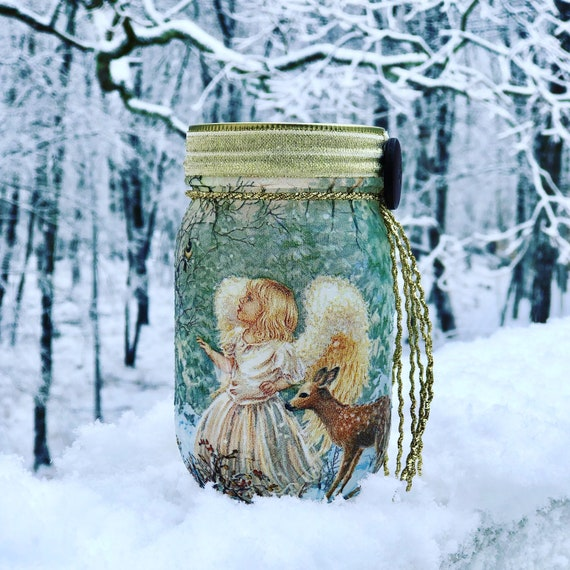 Lighted angel jar, lighted jars, lighted bottles, Christmas jars, angel jar, jar lights, angel and fawn jar