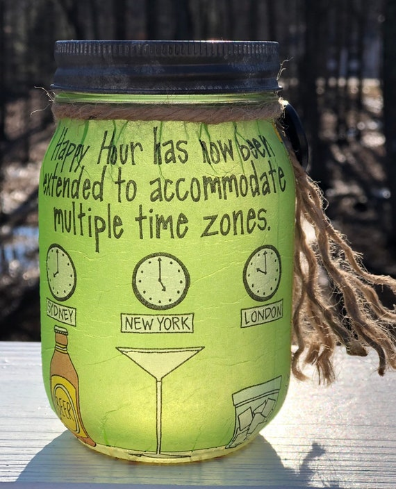 Happy hour lighted jar, lighted jars, lighted bottles, funny quote decor, jar lights, funny quote lighted jars