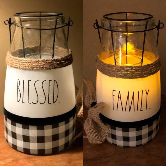 Rae Dunn inspired lighted blessed family lantern, lighted jars, lighted bottles, led lanterns, jar lights, tabletop decor