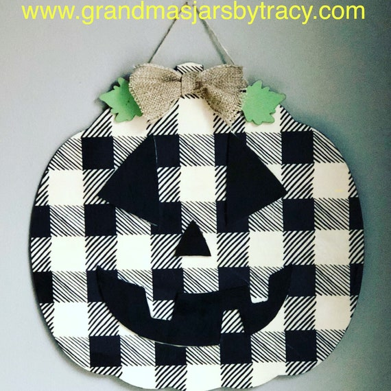 Buffalo check plaid pumpkin, pumpkin wall hanging, wooden pumpkin sign, lighted jars, Halloween wooden sign