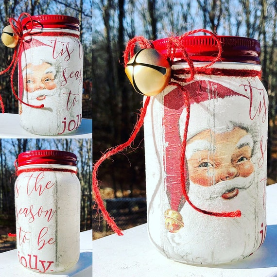 Tis the season to be jolly lighted Santa jar, lighted jars, lighted bottles, lighted Christmas jars, jar lights, Santa jar