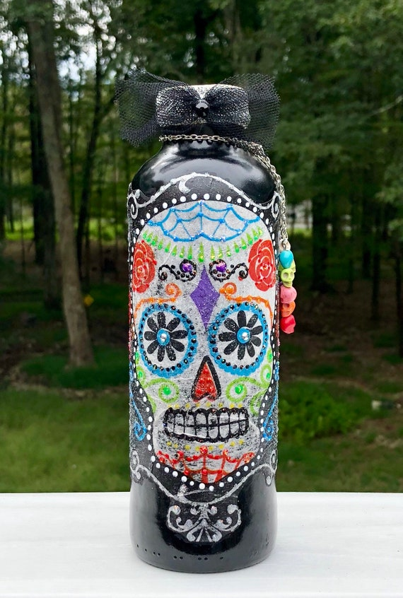 Sugar skull bottle, sugary sugar skull bottle, lighted jars, lighted bottles, sugar skull decor, Halloween decor, day of the dead bottle