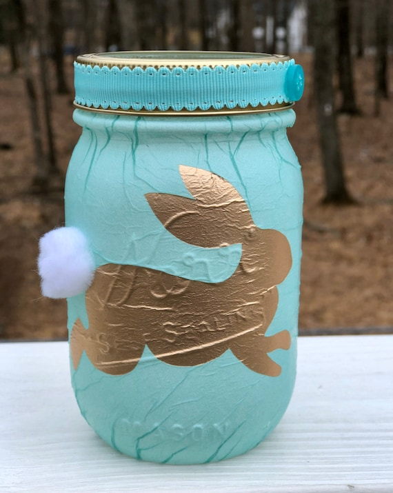 Golden lighted bunny jar, lighted jars, lighted bottles, jar lights, bunny jars, Easter jars, bunny decor