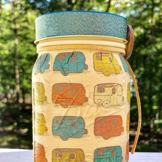 Tan happy camper lighted jar, lighted jars, lighted bottles, jar lights, happy camper decor