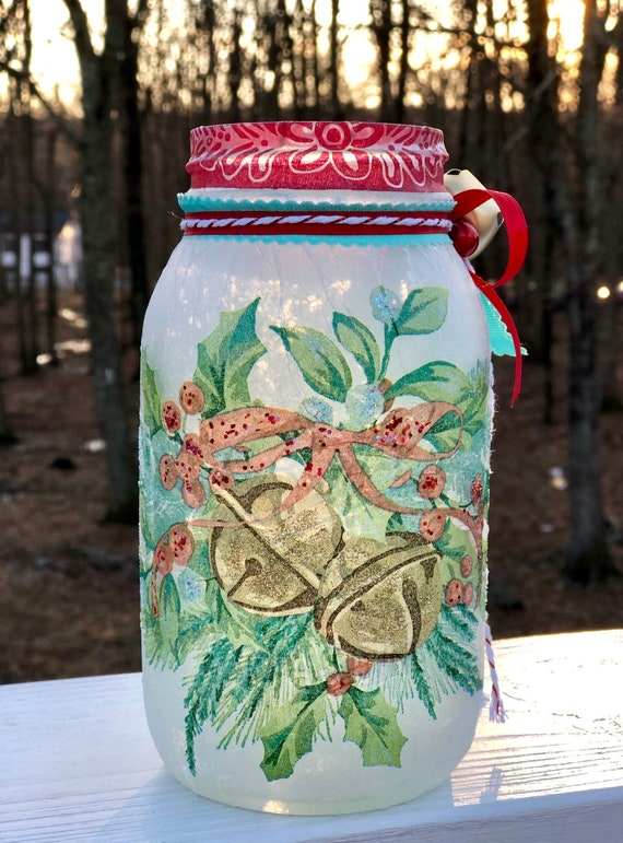 Holly berry bell lighted jar, lighted jars, lighted bottles, lighted Christmas jars, Christmas decor, holly jar, jar lights, Christmas jars