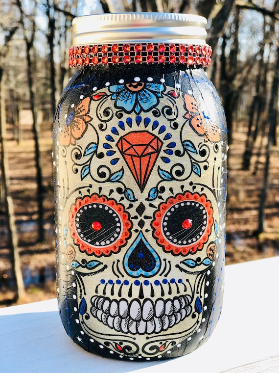 lighted red eyed sugar skull jar, sugar skull jars, lighted jars, lighted bottles, jar lights, candy skull jar, sugar skull decor