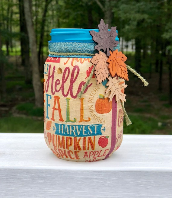Hello fall lighted jar, lighted jars, lighted bottles, fall decor, autumn decor, hello fall jar, jar lights