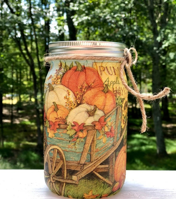 Pumpkin cart lighted jar, lighted jars, lighted bottles, jar lights, fall decor, fall jars