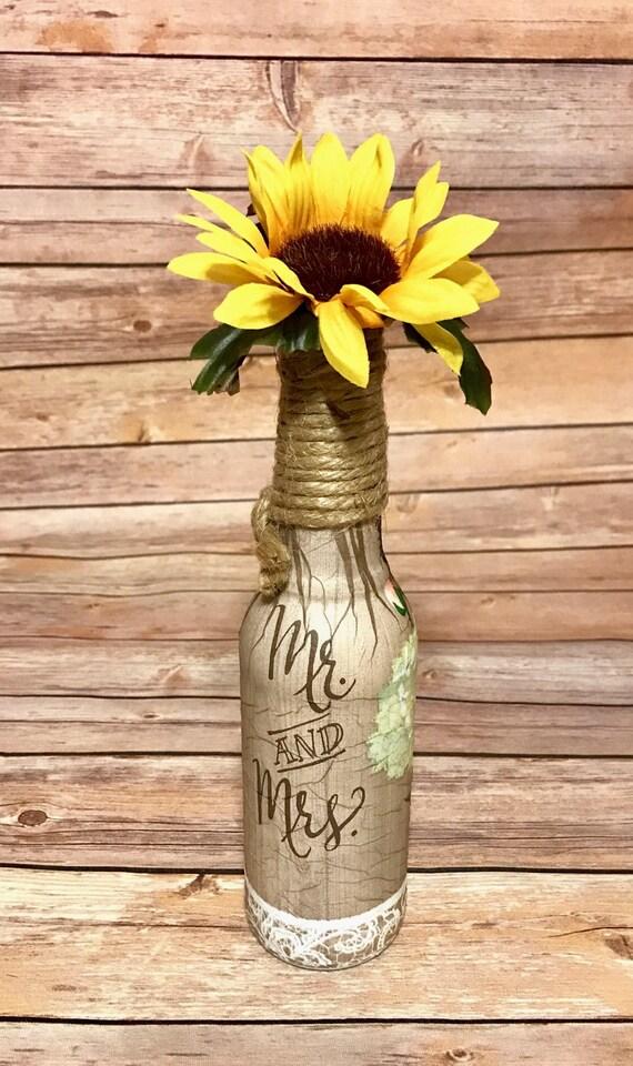 Rustic wedding bottle decor, wedding bottle centerpiece, wedding favors, hand decorated bottles