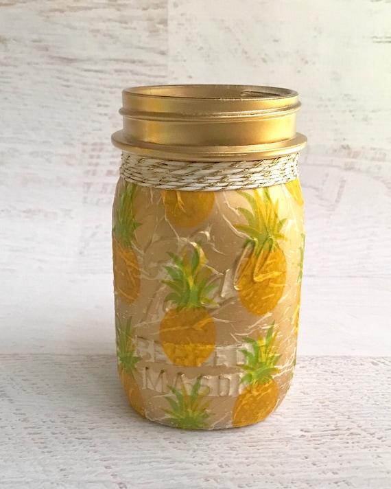 Golden Pineapple lighted jar, pineapple decor, lighted jars, lighted bottles, tropical decor, jar lights