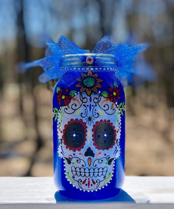 Lighted sugar skull jar, lighted jars, lighted bottles, sugar skull jar, candy skull jar