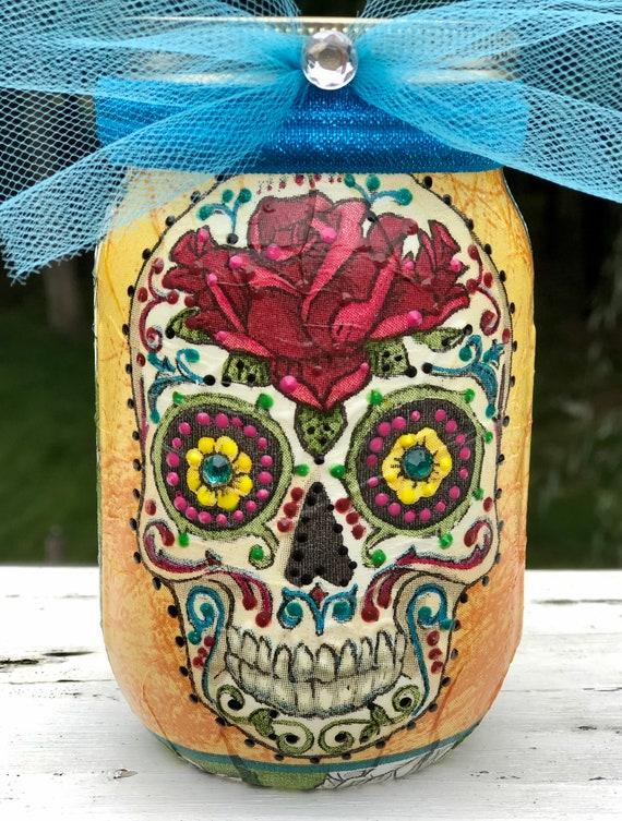 Yellow and teal lighted sugar skull jar, day of the dead jars, dia de Los muertos, candy skulls, sugar skull jars