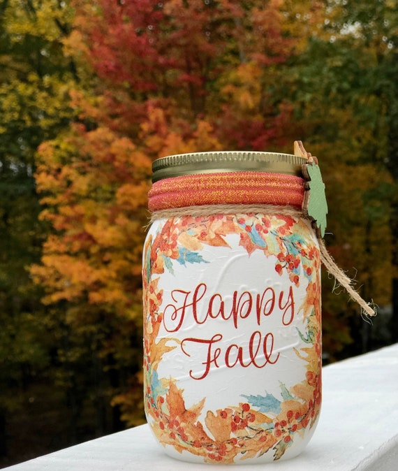 Hello fall lighted jar, lighted jars, lighted bottles, jar lights, fall jars, fall decor, fall night light