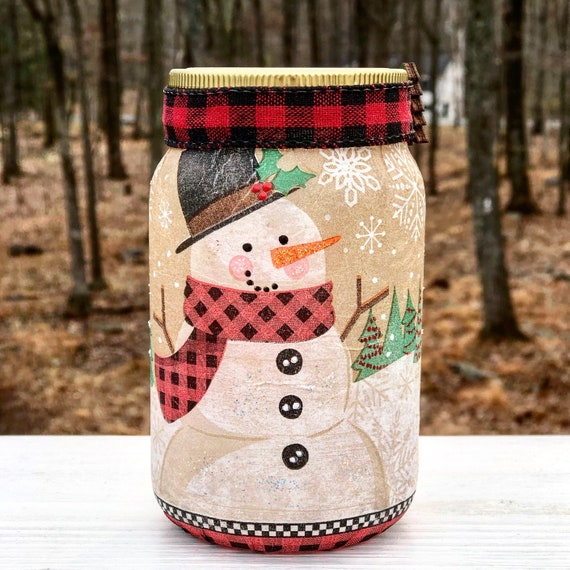 Lighted buffalo plaid snowman jar, lighted jars, lighted bottles, Christmas jars, winter jars, snowman jar, jar lights