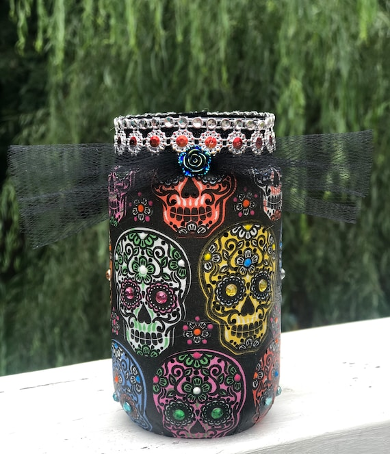 Multi sugar skull bling lighted jar, lighted jars, jar lights, sugar skull jars