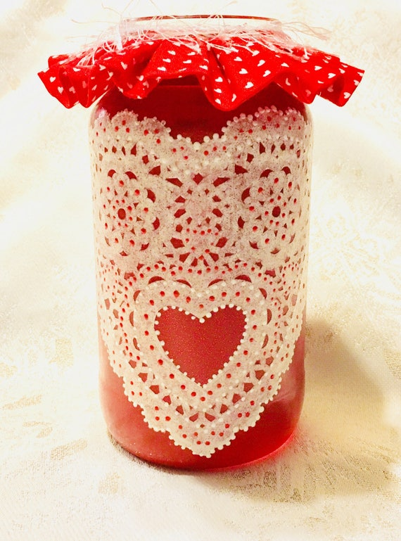 Lighted heart jars, Heart jar, red heart jar, Valentine's jars, valentines gift, lighted bottles, lighted jars