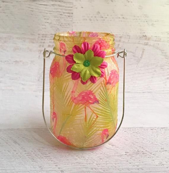 Flamingo jar, Lighted jars, lighted bottles, jar light, mason jars, luau jars, tropical jars