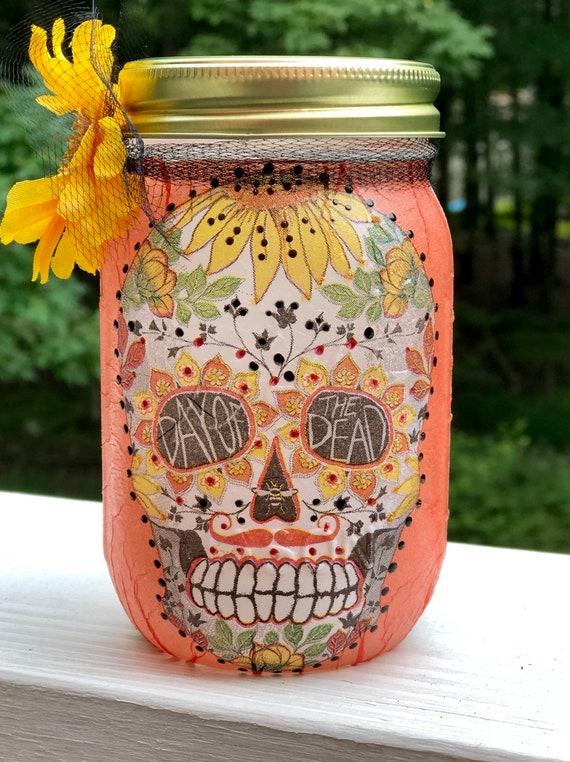 Orange lighted sugar skull jar, lighted jars, lighted bottles, jar lights, sugar skulls, day of the dead, dia de los muertos, Halloween jar