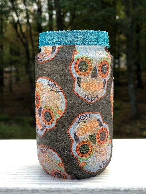 Small Teal and Orange Glitter Lighted Sugar Skull Jar, Lighted Jar, Lighted Bottles, Sugar Skull Jars, Sugar Skull Decor, Dia De Los Muertos
