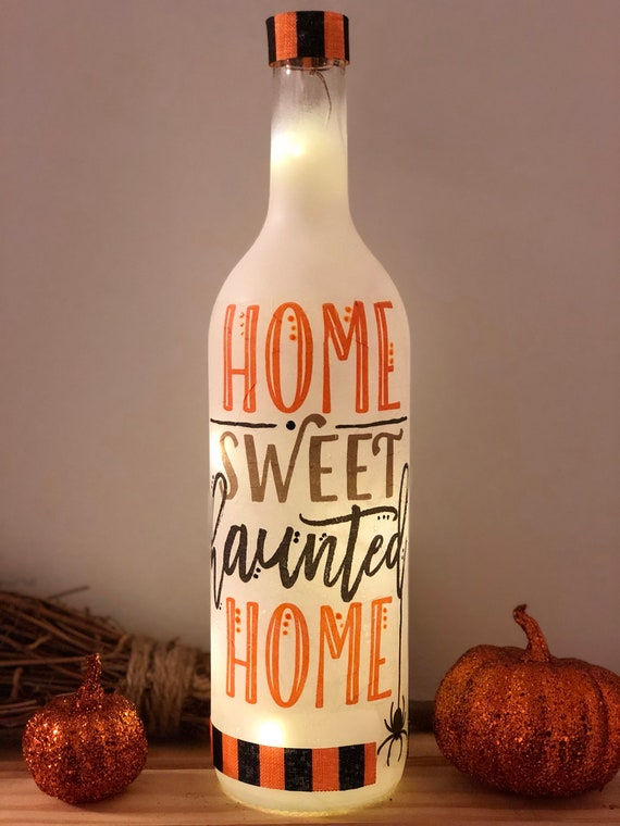 Home sweet haunted home lighted bottle, lighted jars, lighted bottles, Halloween decor, Halloween lighted bottle, bottle lights