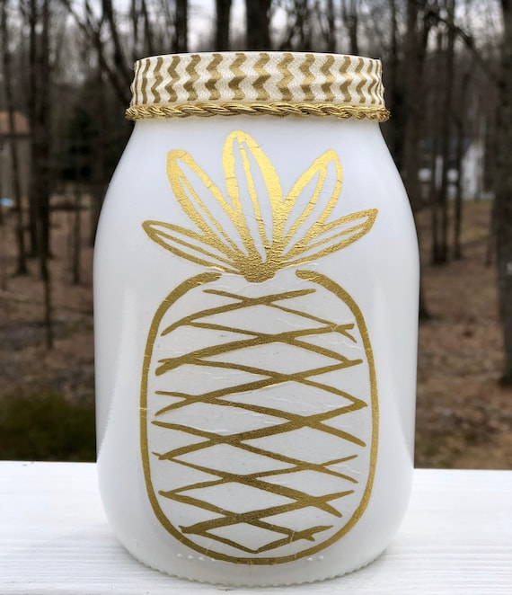 Large pina lighted jar, lighted jars, lighted bottles, pineapple jar, pineapple decor, jar lights, night light jar