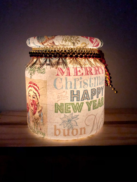 International vintage lighted holiday jar, lighted jars, lighted bottles, jar lights, lighted Christmas jars, Christmas decor