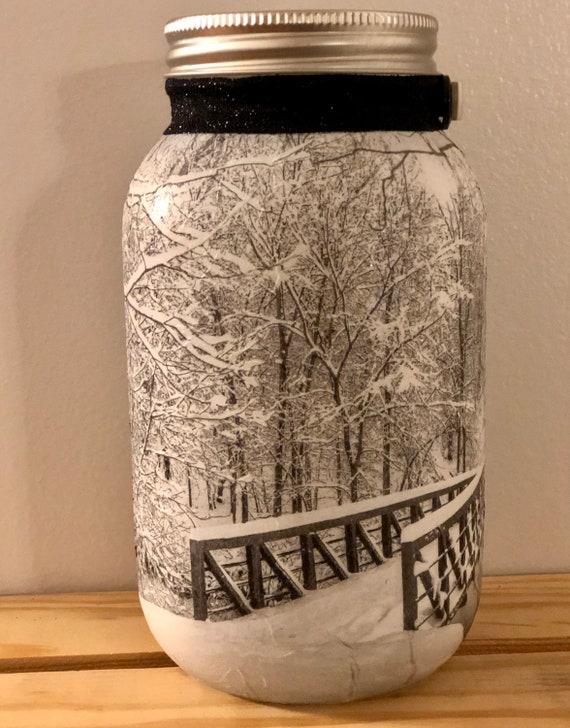 Snow covered lighted bridge jar, lighted jars, jar lights, winter decor, lighted snow jars, lighted Christmas jars