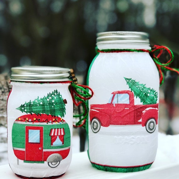 Red truck and red camper lighted Christmas jar set, lighted jars, lighted bottles, jar lights, Christmas decor