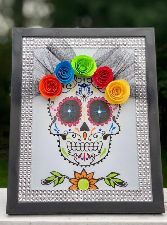 Lighted sugar skull frame, lighted frames, lighted jars, lighted bottles, sugar skull decor, dia de los muertos decor, halloween decor