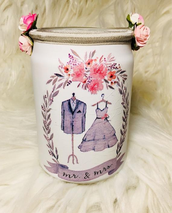 Wedding jars, Wedding wish jar, mr and mrs jar, lighted bottles, lighted jars, wedding jar