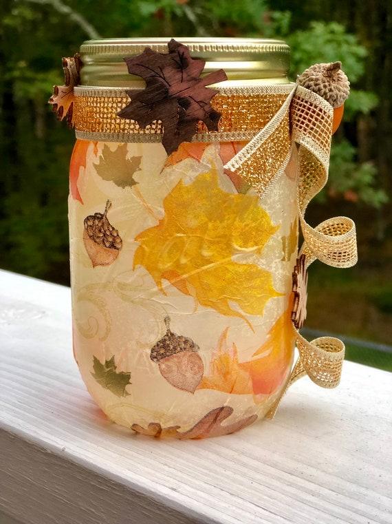 Acorns and leaves lighted jar, lighted jars, lighted bottles, jar lights, lighted fall jars, fall decor