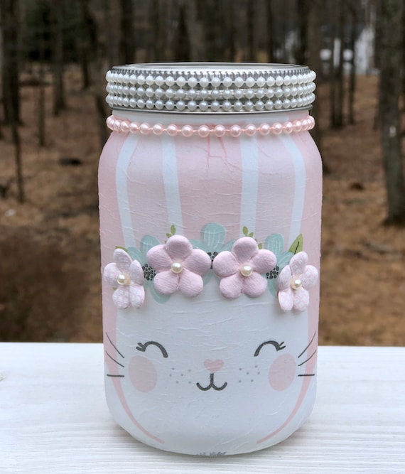 Pearl E lighted bunny jar, lighted jars, lighted bottles, jar lights, lighted Easter jar, Easter decor, Easter jars, bunny jars