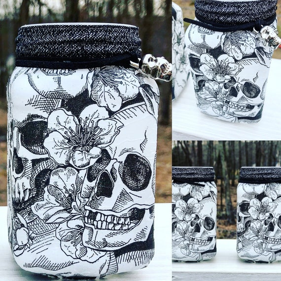 Black and white lighted skull jar set, sugar skull jars, lighted jars, lighted bottles, sugar skull decor, skull jars, jar lights